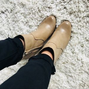 Shoes - Booties | Taupe Booties | Chunk Heel